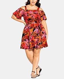 Trendy Plus Size Sunrise Cold-Shoulder Dress