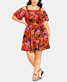 City Chic Trendy Plus Size Sunrise Cold-Shoulder Dress