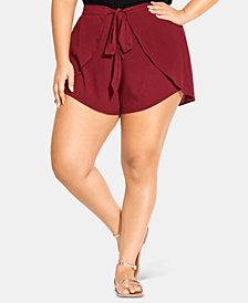 City Chic Plus Size Tie-Front Tulip-Hem Shorts