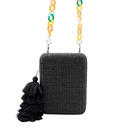 Raffia Tassel Box Clutch with Colorful Acrylic Chain
