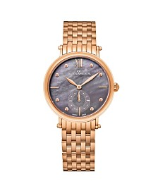 Alexander Watch A201B-04, Ladies Quartz Small-Second Watch with Rose Gold Tone Stainless Steel Case on Rose Gold Tone Stainless Steel Bracelet