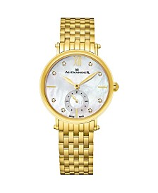 Alexander Watch AD201B-02, Ladies Quartz Small-Second Watch with Yellow Gold Tone Stainless Steel Case on Yellow Gold Tone Stainless Steel Bracelet