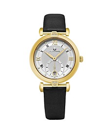 Alexander Watch AD202-03, Ladies Quartz Small-Second Date Watch with Yellow Gold Tone Stainless Steel Case on Black Satin Strap