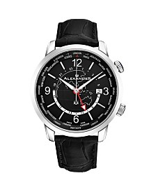Alexander Watch A171-01, Stainless Steel Case on Black Embossed Genuine Leather Strap
