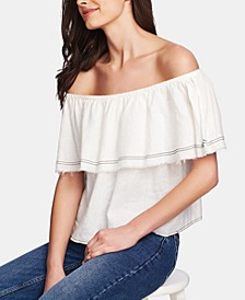 Ruffled Off-The-Shoulder Linen Top