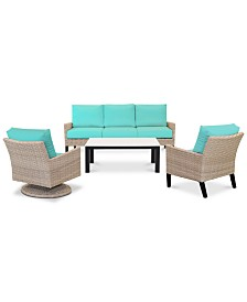 Amari Parchment Outdoor 4-Pc. Seating Set (1 Sofa, 1 Club Chair, 1 Swivel Chair & 1 Coffee Table) with Sunbrella® Cushions