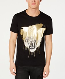 GUESS Men's Gold Foil Spray Tiger T-Shirt