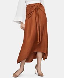 BCBGMAXAZRIA Draped A-Line Midi Skirt
