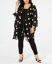 Plus Size Big Dot Chiffon Kimono