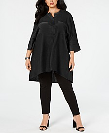 Plus Size Mixed-Media Tunic