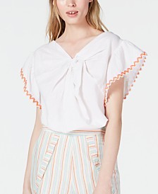 Line & Dot Twisted Embroidered Top