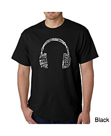 Mens Word Art T-Shirt - Headphones - Music in Different Languages