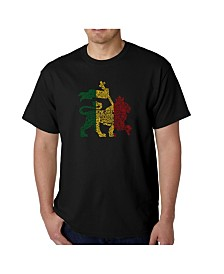 LA Pop Art Mens Word Art T-Shirt - Rasta Lion - One Love