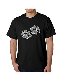 LA Pop Art Mens Word Art T-Shirt - Woof Paw Prints