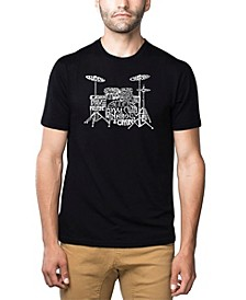 Mens Premium Blend Word Art T-Shirt - Drums