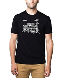 LA Pop Art Mens Premium Blend Word Art T-Shirt - Drums