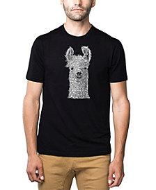 LA Pop Art Mens Premium Blend Word Art T-Shirt - Llama