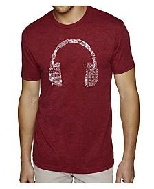 LA Pop Art Mens Premium Blend Word Art T-Shirt - Headphones - Music in Different Languages