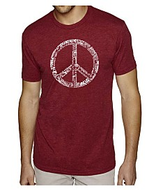 LA Pop Art Mens Premium Blend Word Art T-Shirt - Peace Sign in 77 Languages