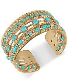 Lucky Brand Gold-Tone Imitation Turquoise Statement Cuff Bracelet
