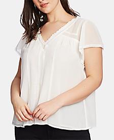 Plus Size V-Neck Lace-Trim Blouse
