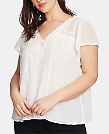 1.STATE Plus Size V-Neck Lace-Trim Blouse