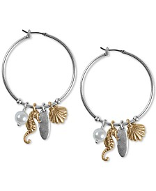 """Lucky Brand Two-Tone Sea Life Charm 2-1/5"""" Extra Large Hoop Earrings"""