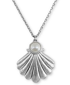 """Lucky Brand Silver-Tone Shell Pendant Necklace, 30"""" + 2"""" extender"""