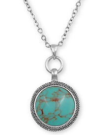 """Lucky Brand Silver-Tone Reversible Stone Pendant Necklace, 18"""" + 2"""" extender"""