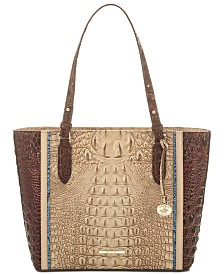 Brahmin Medium Misha Sand Santana Embossed Leather Tote