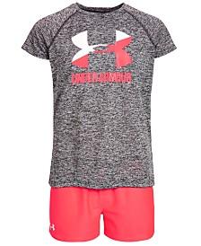 Under Armour Big Girls Logo-Print T-Shirt & Play Up Shorts Separates