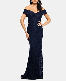 XSCAPE Off-The-Shoulder Lace Gown