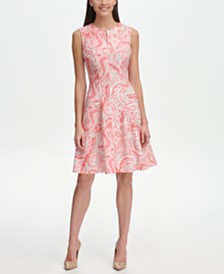 Tommy Hilfiger Paisley Scuba Crepe Fit and Flare Dress