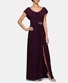 Embellished-Waist Cowlneck Gown