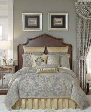 European bedroom decor in luxury coordinated fabrics.