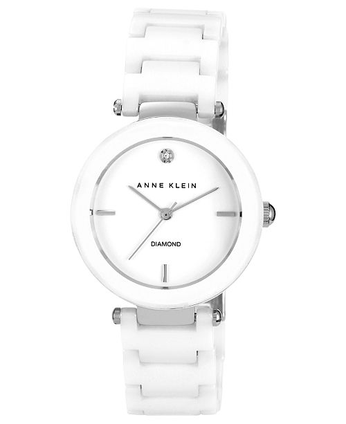 eadb55185 Anne Klein Women's Diamond Accent White Ceramic Bracelet Watch 33mm  AK-1019WTWT ...