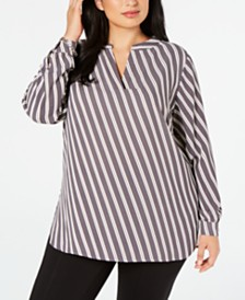 Anne Klein Plus Size Striped Split-Neck Blouse