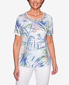 The Summer Wind Printed Cutout Top
