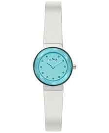 Women's Leonora White Leather Strap Watch 25mm