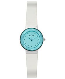 Skagen Women's Leonora White Leather Strap Watch 25mm