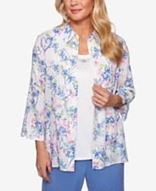 Alfred Dunner The Summer Wind Embellished Layered-Look Top