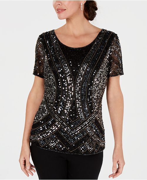 28th & Park Embellished Hand-Beaded Top, Created for Macy's