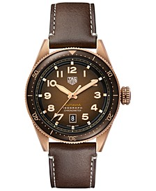 Autavia Men's Swiss Automatic Brown Calfskin Leather Strap Watch 42mm