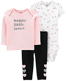 Carter's Baby Girls 3-Pc. Cotton T-Shirt, Bodysuit & Pants Set