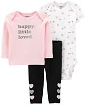 ec62345f0 Carter's Baby Girls 3-Pc. Cotton T-Shirt, Bodysuit & Pants Set