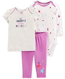 Baby Girls 3-Pc. Cotton T-Shirt, Bodysuit & Pants Set