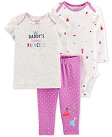 Carter's Baby Girls 3-Pc. Cotton T-Shirt, Bodysuit & Pants Set