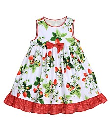 Laura Ashley Toddler and Little Girl's Strawberry Print Garden Party Dress