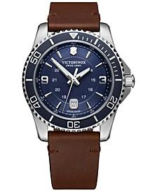 Men's Maverick Brown Leather Strap Watch 43mm
