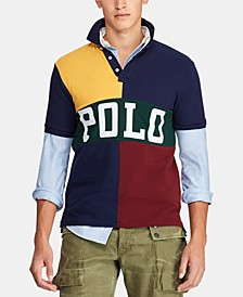 Men's Classic-Fit Color Block Mesh Polo Shirt